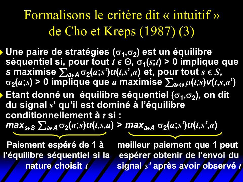 Formalisons le critère dit « intuitif » de Cho et Kreps (1987) (3)  Une paire de stratégies (  1,  2 ) est un équilibre séquentiel si, pour tout t