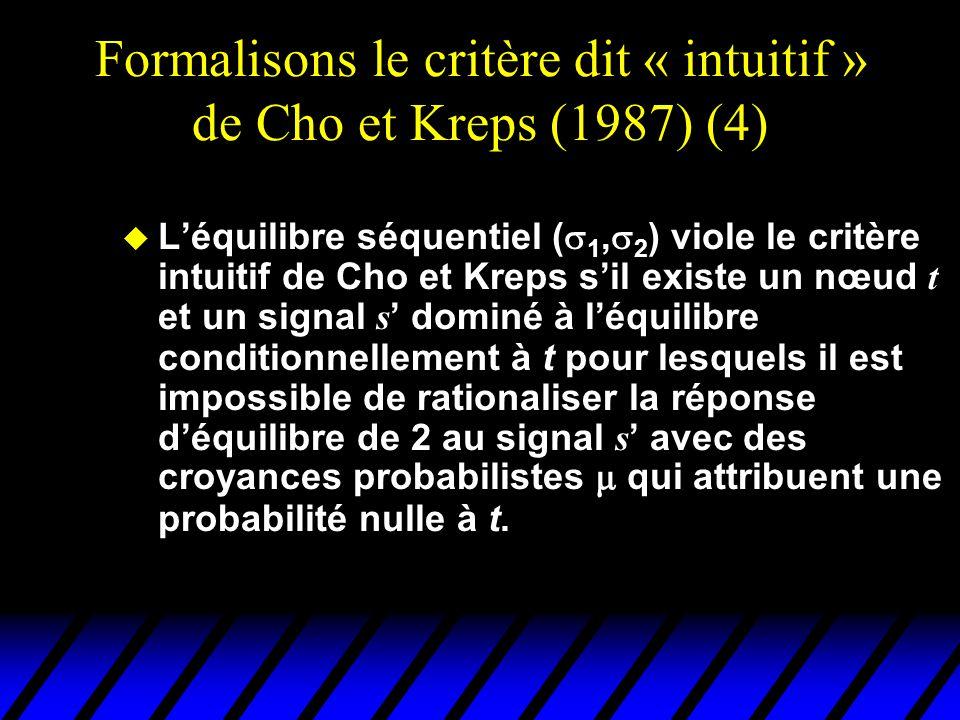 Formalisons le critère dit « intuitif » de Cho et Kreps (1987) (4)  L'équilibre séquentiel (  1,  2 ) viole le critère intuitif de Cho et Kreps s'i