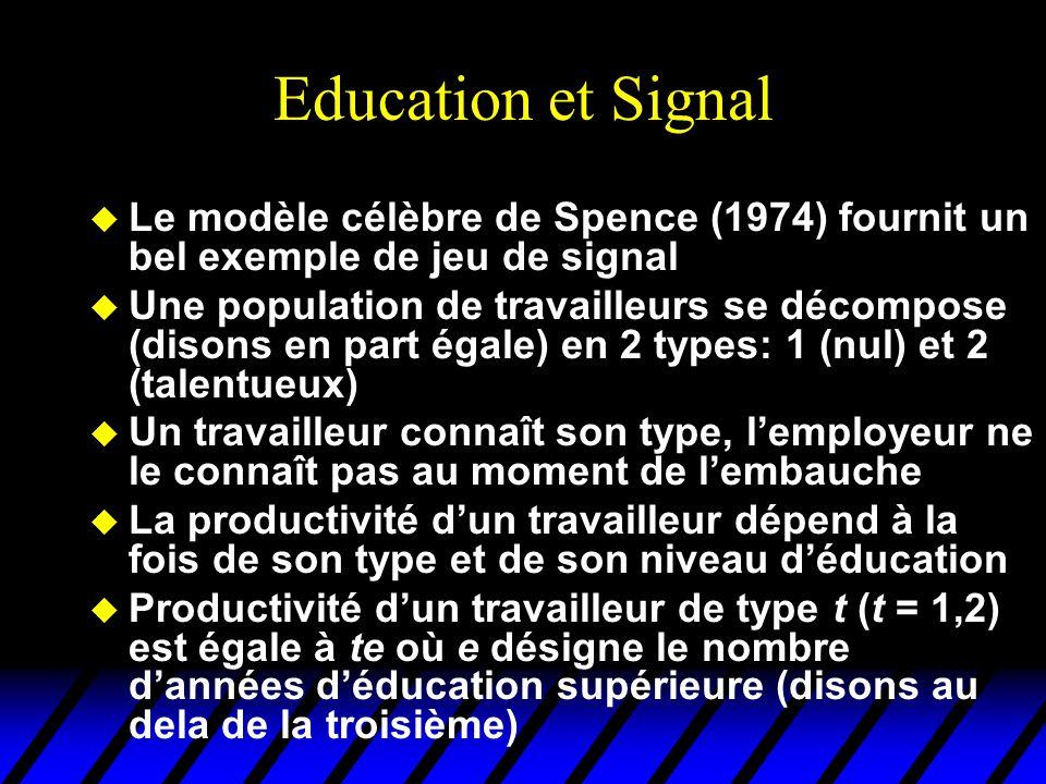Education et Signal u Le modèle célèbre de Spence (1974) fournit un bel exemple de jeu de signal u Une population de travailleurs se décompose (disons