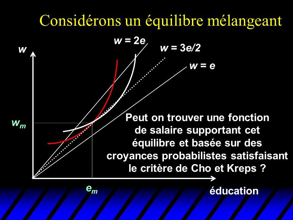 Considérons un équilibre mélangeant éducation w emem wmwm w = e w = 2e w = 3e/2 Peut on trouver une fonction de salaire supportant cet équilibre et ba