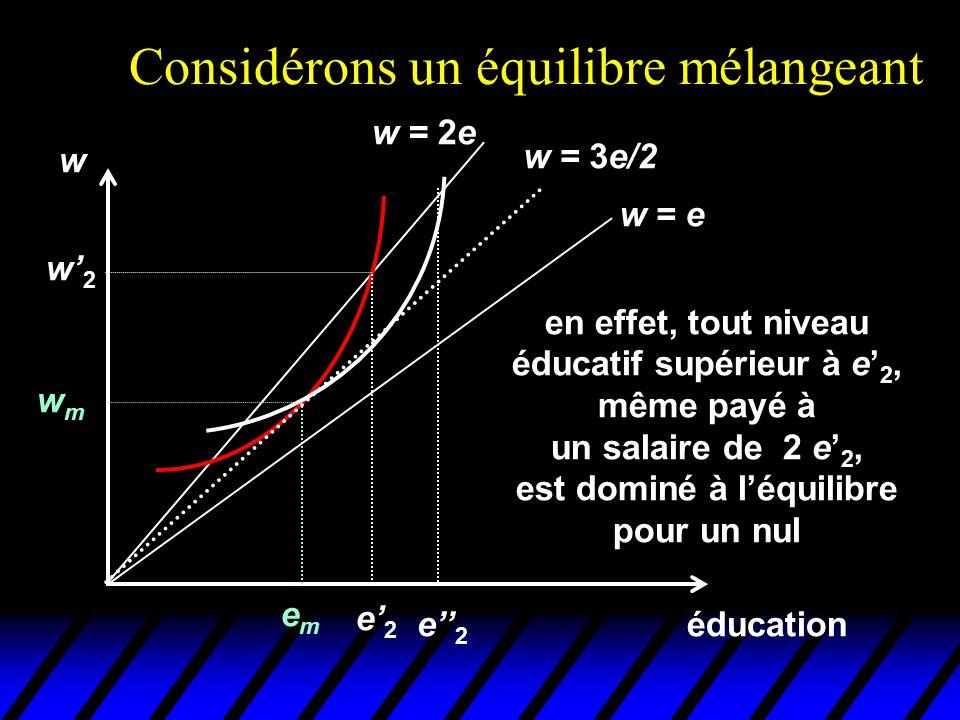 Considérons un équilibre mélangeant éducation w emem wmwm w = e w = 2e w = 3e/2 en effet, tout niveau éducatif supérieur à e' 2, même payé à un salair