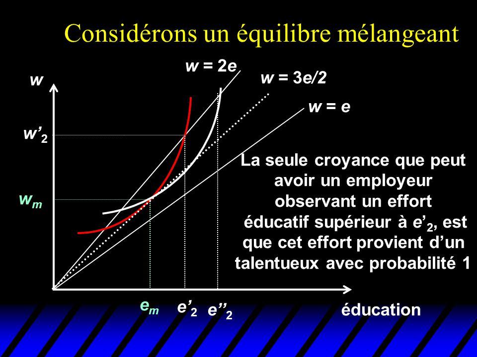 Considérons un équilibre mélangeant éducation w emem wmwm w = e w = 2e w = 3e/2 La seule croyance que peut avoir un employeur observant un effort éduc