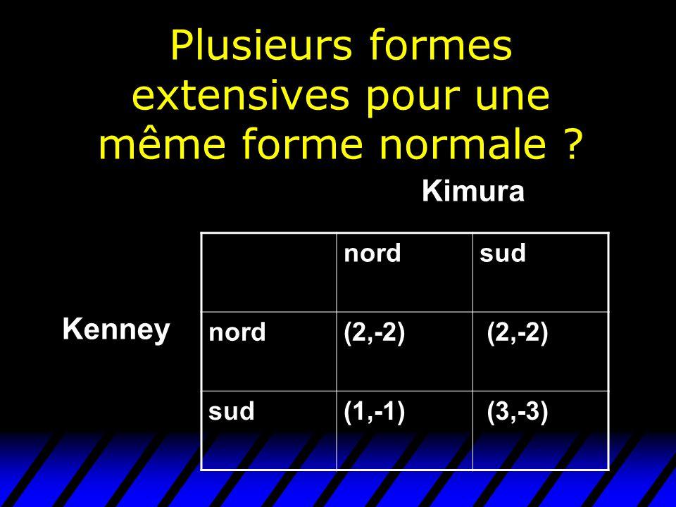 Plusieurs formes extensives pour une même forme normale ? nordsud nord(2,-2) sud(1,-1) (3,-3) Kenney Kimura