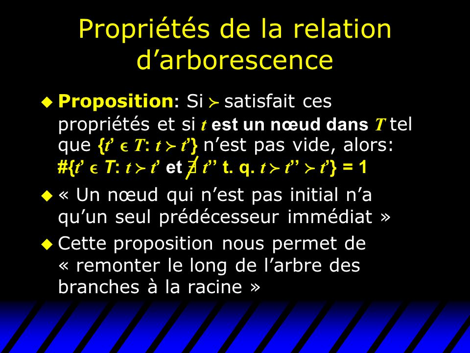 Propriétés de la relation d'arborescence  Proposition : Si  satisfait ces propriétés et si t est un nœud dans T tel que { t '  T : t  t '} n'est p