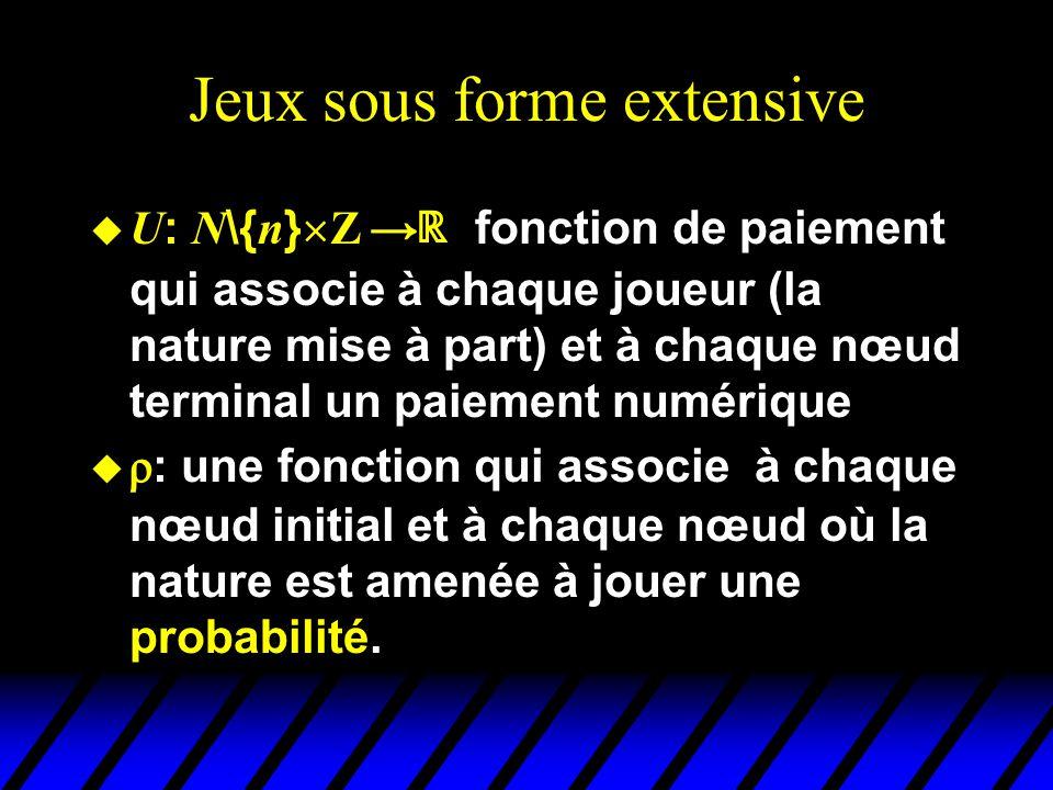 Jeux sous forme extensive  U : N \{ n }  Z   fonction de paiement qui associe à chaque joueur (la nature mise à part) et à chaque nœud terminal un