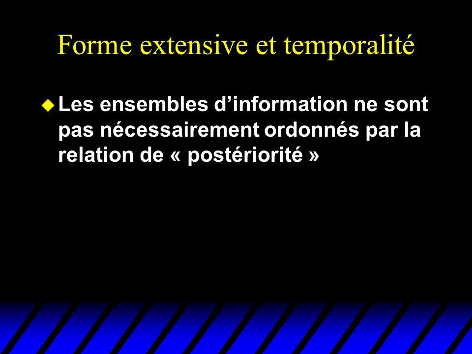 Forme extensive et temporalité u Les ensembles d'information ne sont pas nécessairement ordonnés par la relation de « postériorité »