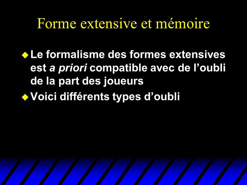 Forme extensive et mémoire u Le formalisme des formes extensives est a priori compatible avec de l'oubli de la part des joueurs u Voici différents typ