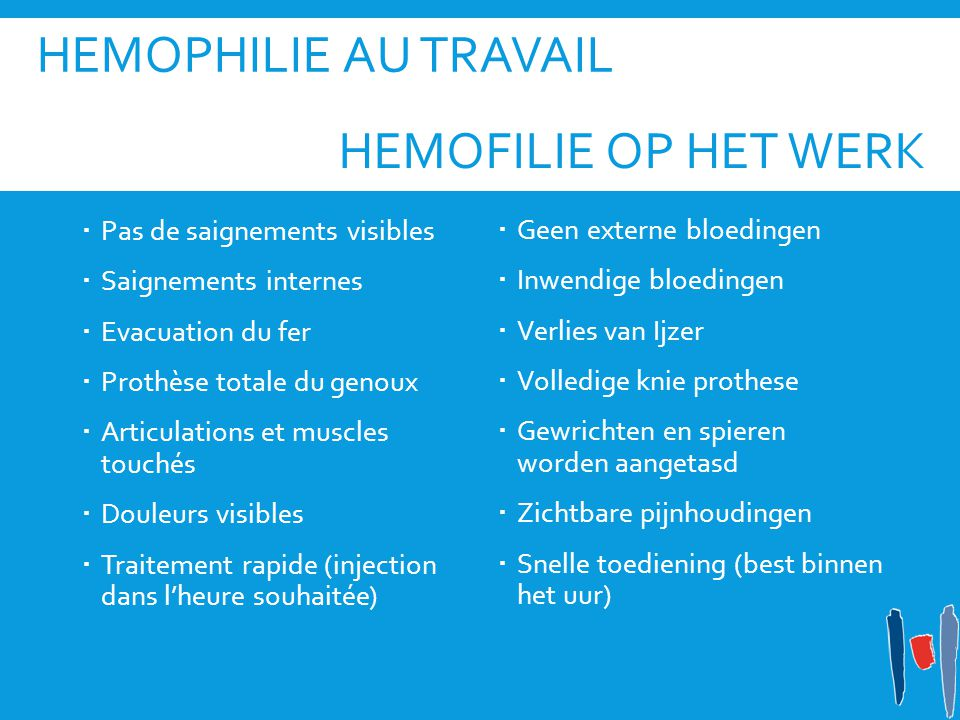HEMOPHILIE AU TRAVAIL  Pas de saignements visibles  Saignements internes  Evacuation du fer  Prothèse totale du genoux  Articulations et muscles