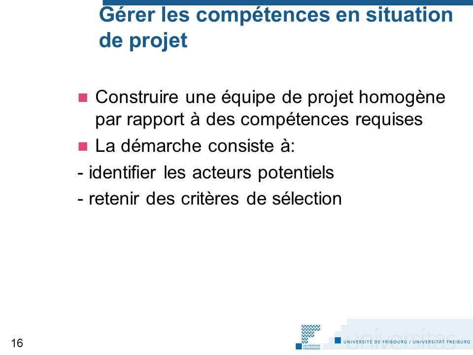 Gérer les compétences en situation de projet Construire une équipe de projet homogène par rapport à des compétences requises La démarche consiste à: -