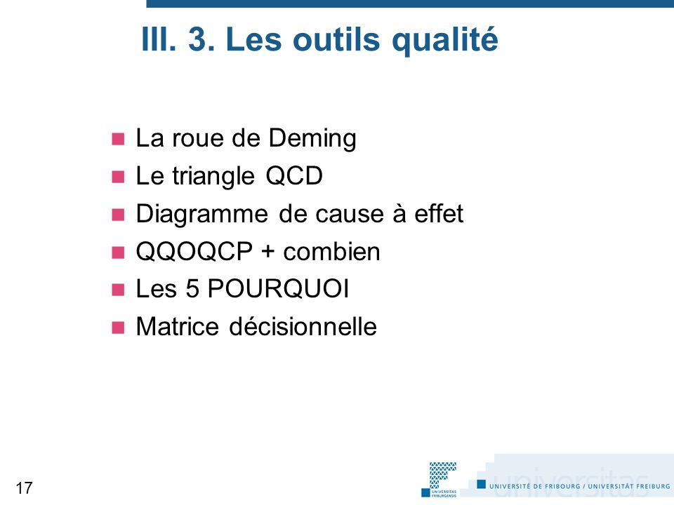 III. 3. Les outils qualité La roue de Deming Le triangle QCD Diagramme de cause à effet QQOQCP + combien Les 5 POURQUOI Matrice décisionnelle 17