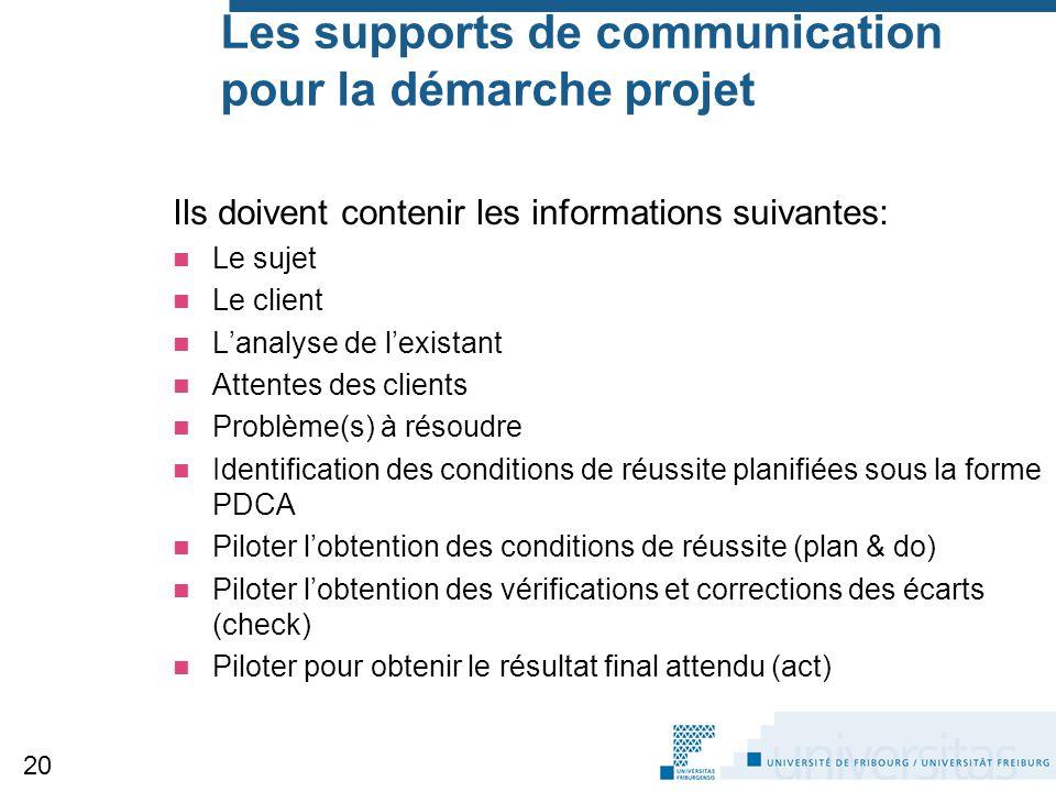 Les supports de communication pour la démarche projet Ils doivent contenir les informations suivantes: Le sujet Le client L'analyse de l'existant Atte