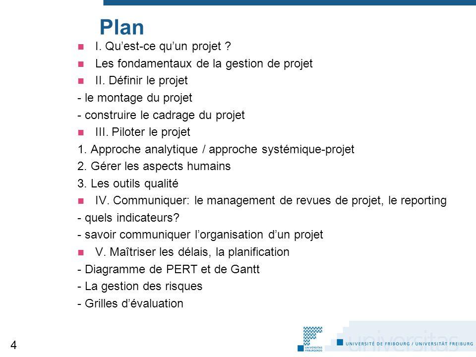 Plan I. Qu'est-ce qu'un projet ? Les fondamentaux de la gestion de projet II. Définir le projet - le montage du projet - construire le cadrage du proj