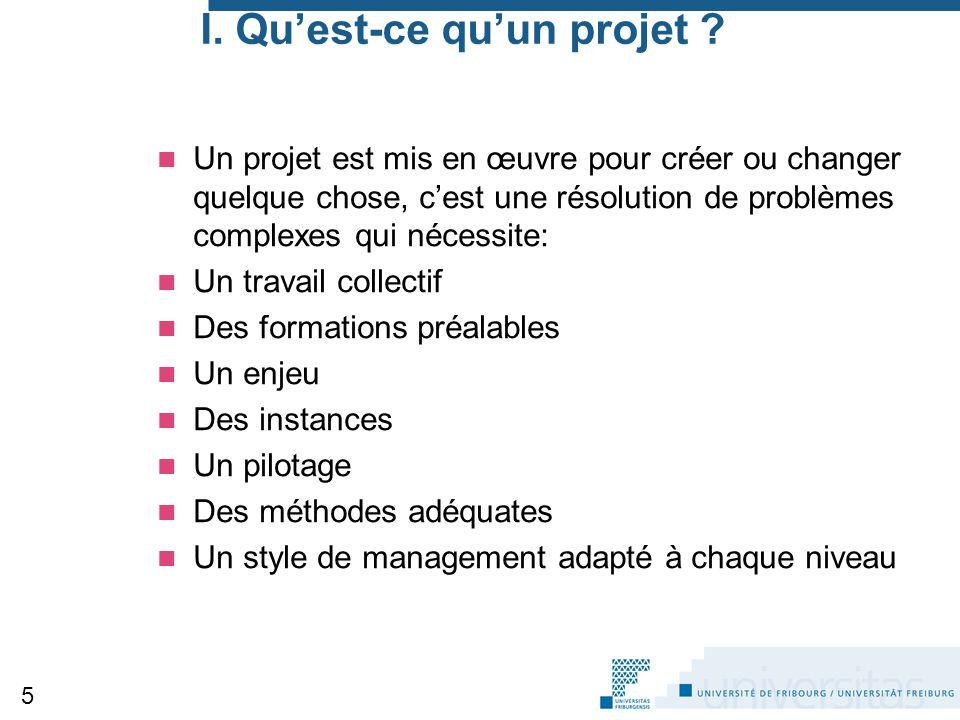I. Qu'est-ce qu'un projet ? Un projet est mis en œuvre pour créer ou changer quelque chose, c'est une résolution de problèmes complexes qui nécessite: