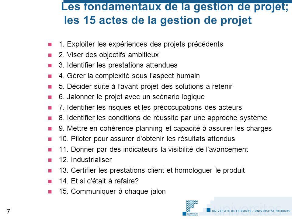 Les fondamentaux de la gestion de projet; les 15 actes de la gestion de projet 1. Exploiter les expériences des projets précédents 2. Viser des object