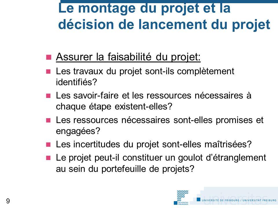 Le montage du projet et la décision de lancement du projet Assurer la faisabilité du projet: Les travaux du projet sont-ils complètement identifiés? L