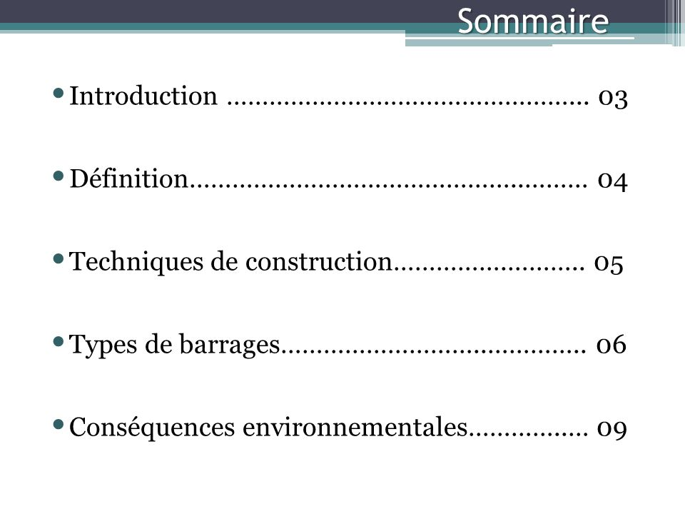Sommaire Introduction …………………………………………...