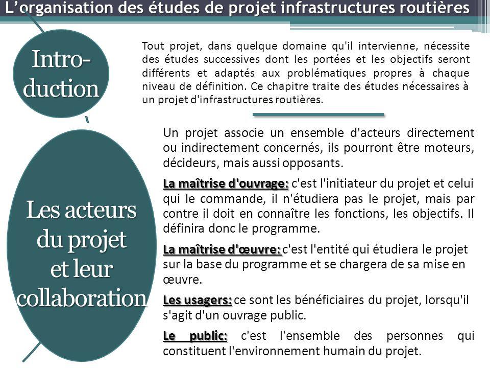 L'organisation des études de projet infrastructures routières Tout projet, dans quelque domaine qu il intervienne, nécessite des études successives dont les portées et les objectifs seront différents et adaptés aux problématiques propres à chaque niveau de définition.