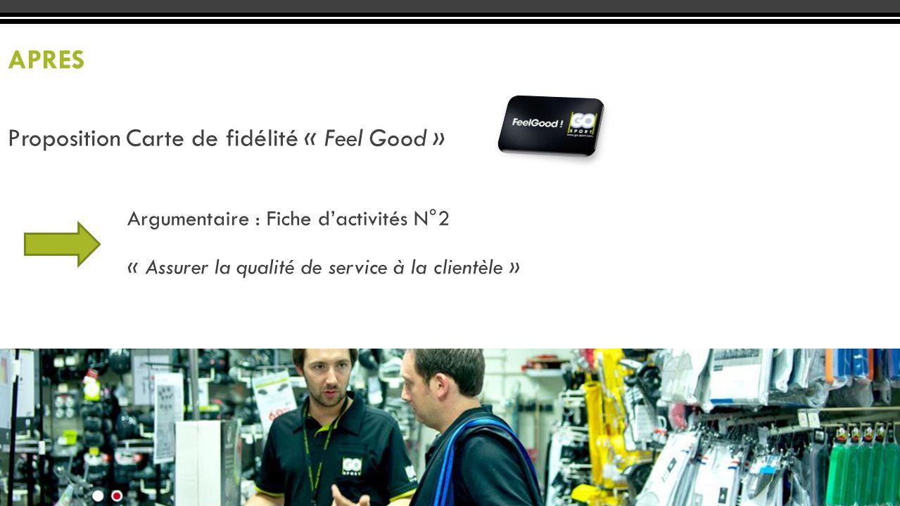 Proposition Carte de fidélité « Feel Good » APRES Argumentaire : Fiche d'activités N°2 « Assurer la qualité de service à la clientèle »