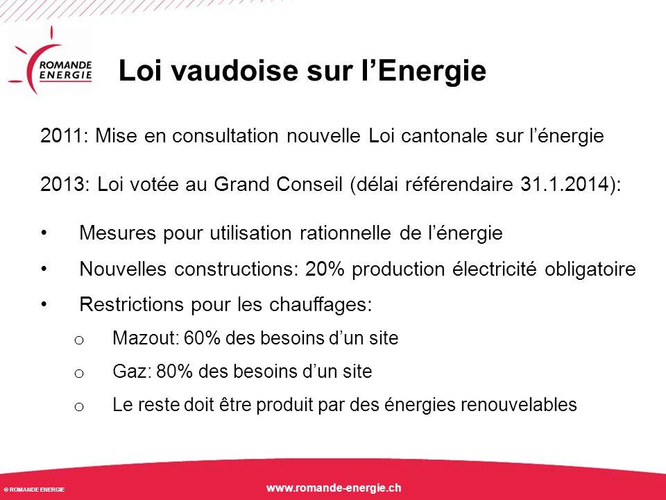 © ROMANDE ENERGIE www.romande-energie.ch Loi vaudoise sur l'Energie 2011: Mise en consultation nouvelle Loi cantonale sur l'énergie 2013: Loi votée au