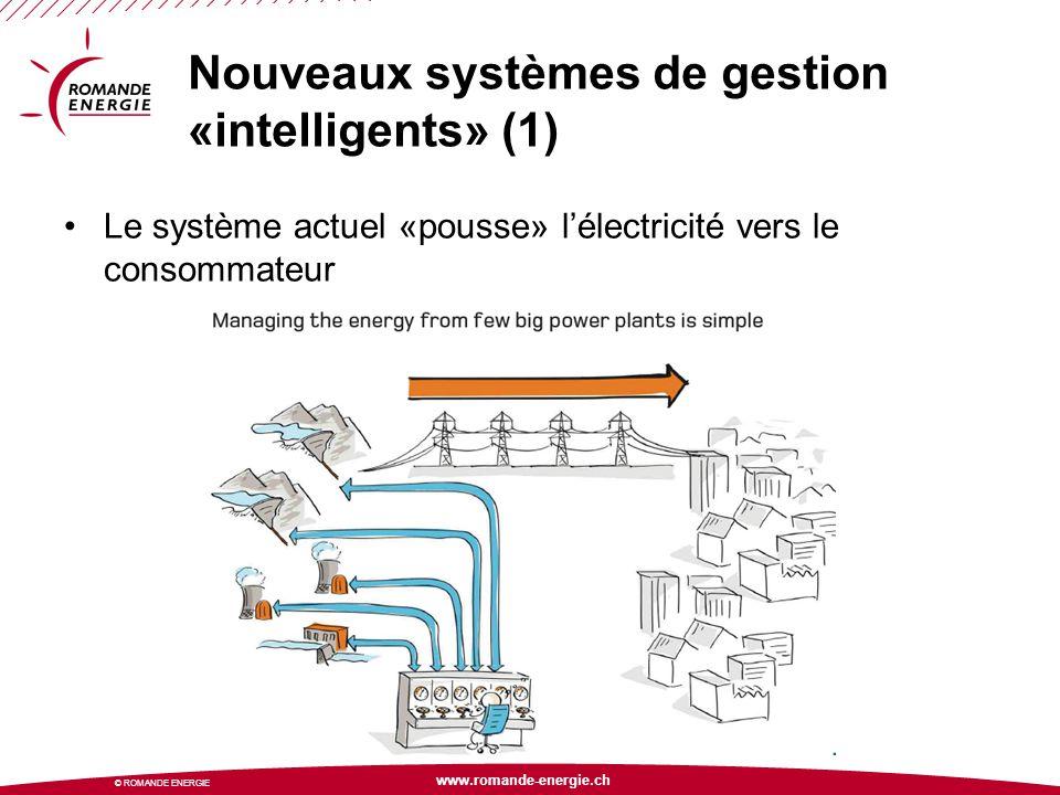 www.romande-energie.ch © ROMANDE ENERGIE Nouveaux systèmes de gestion «intelligents» (1) Le système actuel «pousse» l'électricité vers le consommateur