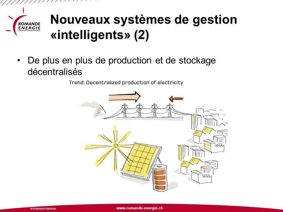 www.romande-energie.ch © ROMANDE ENERGIE Nouveaux systèmes de gestion «intelligents» (2) De plus en plus de production et de stockage décentralisés
