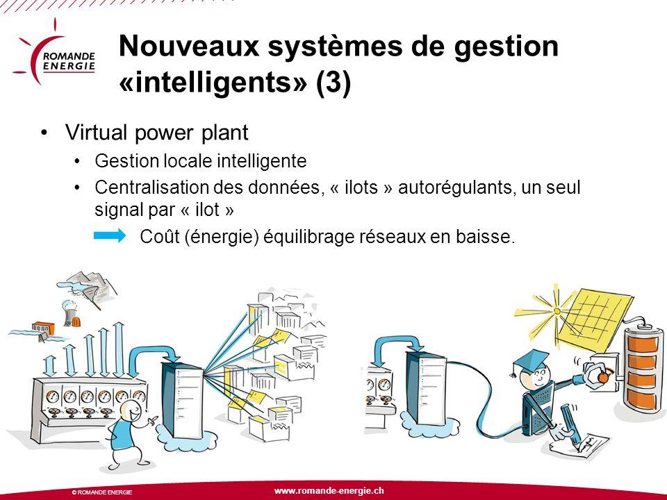 www.romande-energie.ch © ROMANDE ENERGIE Nouveaux systèmes de gestion «intelligents» (3) Virtual power plant Gestion locale intelligente Centralisatio