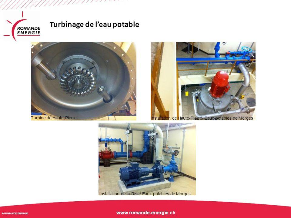 © ROMANDE ENERGIE www.romande-energie.ch Turbinage de l'eau potable Turbine de Haute-Pierre Installation de Haute-Pierre/ Eaux potables de Morges Inst