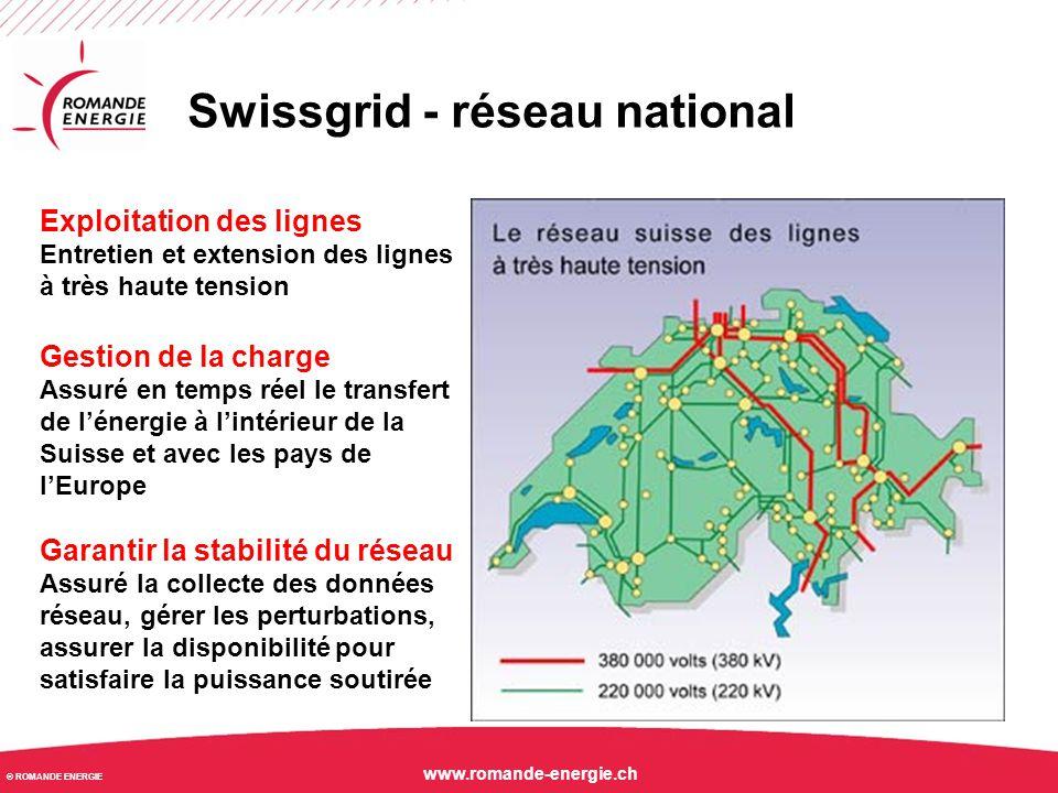 © ROMANDE ENERGIE www.romande-energie.ch Swissgrid - réseau national Exploitation des lignes Entretien et extension des lignes à très haute tension Ge