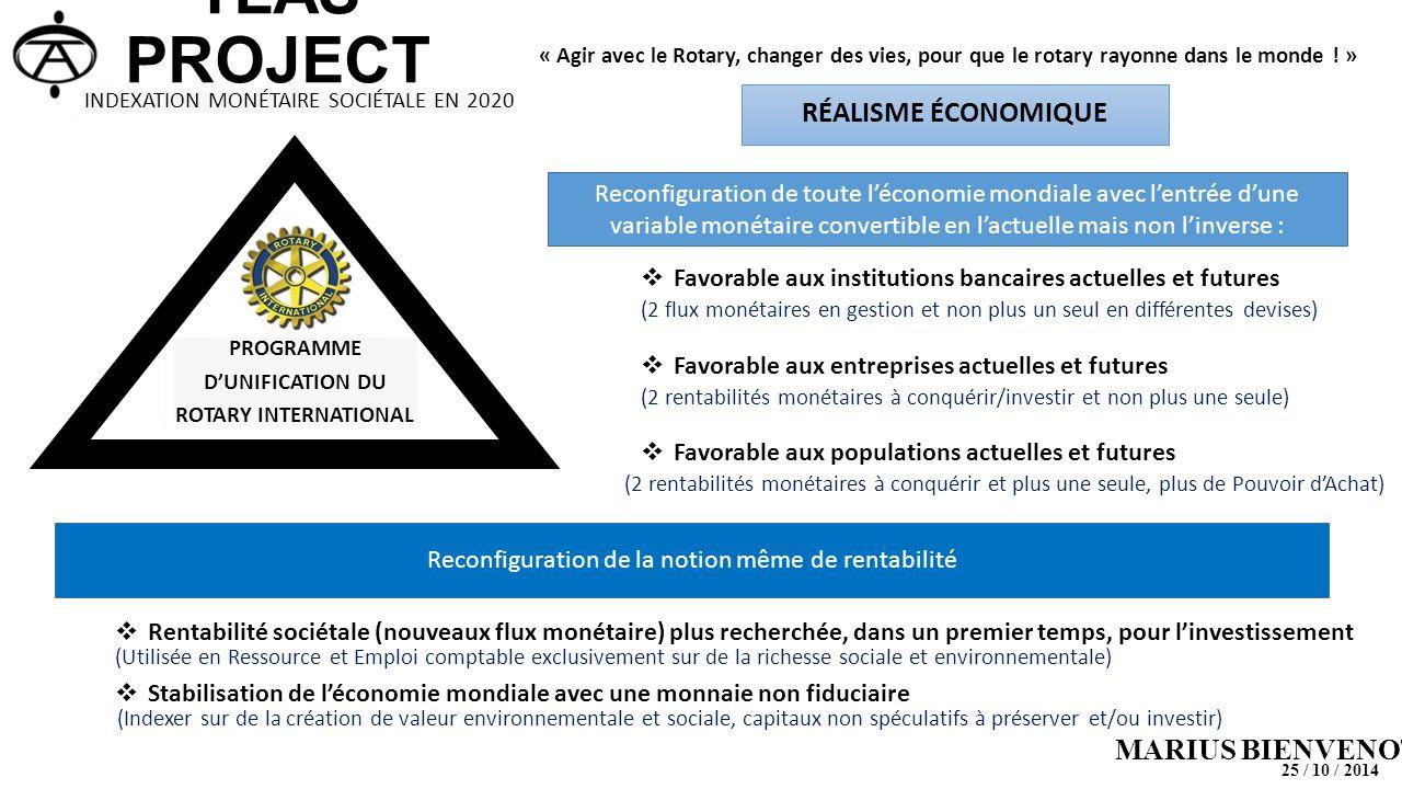 TLAS PROJECT MARIUS BIENVENOT PROGRAMME D'UNIFICATION DU ROTARY INTERNATIONAL « Agir avec le Rotary, changer des vies, pour que le rotary rayonne dans le monde .