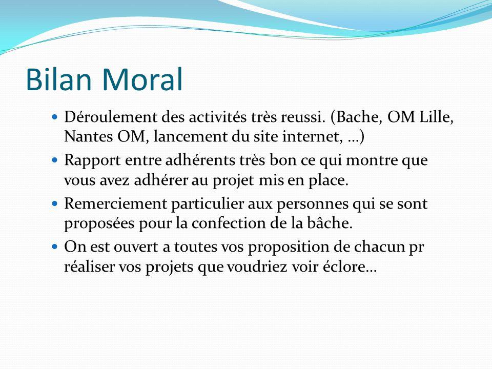 Bilan Moral Déroulement des activités très reussi. (Bache, OM Lille, Nantes OM, lancement du site internet, …) Rapport entre adhérents très bon ce qui