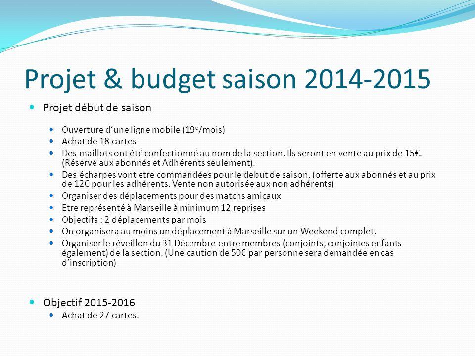 Projet & budget saison 2014-2015 Projet début de saison Ouverture d'une ligne mobile (19 e /mois) Achat de 18 cartes Des maillots ont été confectionné