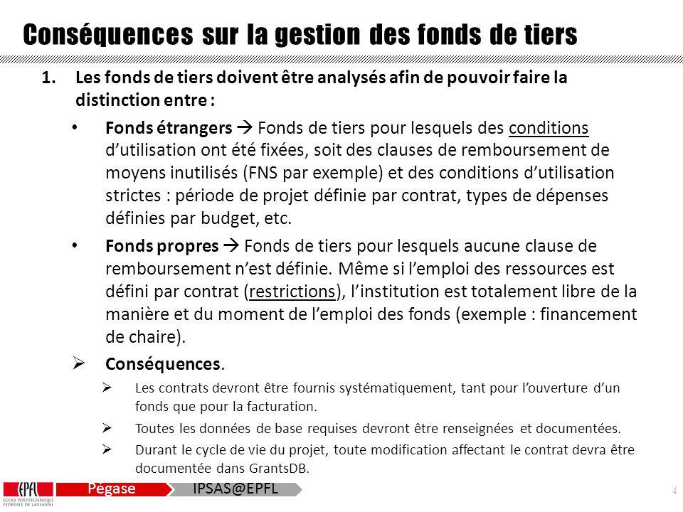 4 Pégase IPSAS@EPFL Conséquences sur la gestion des fonds de tiers 1.Les fonds de tiers doivent être analysés afin de pouvoir faire la distinction entre : Fonds étrangers  Fonds de tiers pour lesquels des conditions d'utilisation ont été fixées, soit des clauses de remboursement de moyens inutilisés (FNS par exemple) et des conditions d'utilisation strictes : période de projet définie par contrat, types de dépenses définies par budget, etc.