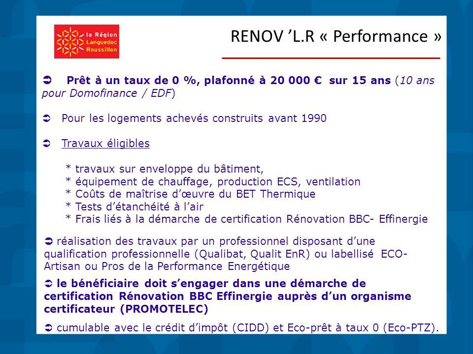  Prêt à un taux de 0 %, plafonné à 20 000 € sur 15 ans (10 ans pour Domofinance / EDF)  Pour les logements achevés construits avant 1990  Travaux éligibles * travaux sur enveloppe du bâtiment, * équipement de chauffage, production ECS, ventilation * Coûts de maîtrise d'œuvre du BET Thermique * Tests d'étanchéité à l'air * Frais liés à la démarche de certification Rénovation BBC- Effinergie  réalisation des travaux par un professionnel disposant d'une qualification professionnelle (Qualibat, Qualit EnR) ou labellisé ECO- Artisan ou Pros de la Performance Energétique  le bénéficiaire doit s'engager dans une démarche de certification Rénovation BBC Effinergie auprès d'un organisme certificateur (PROMOTELEC)  cumulable avec le crédit d'impôt (CIDD) et Eco-prêt à taux 0 (Eco-PTZ).