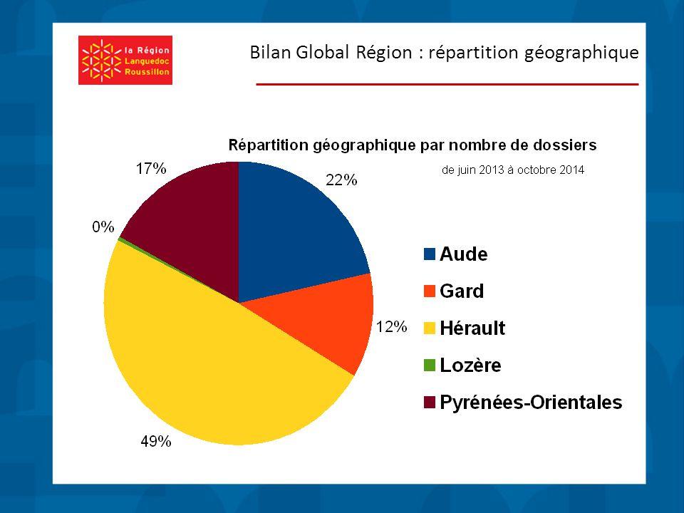 Bilan Global Région : répartition géographique