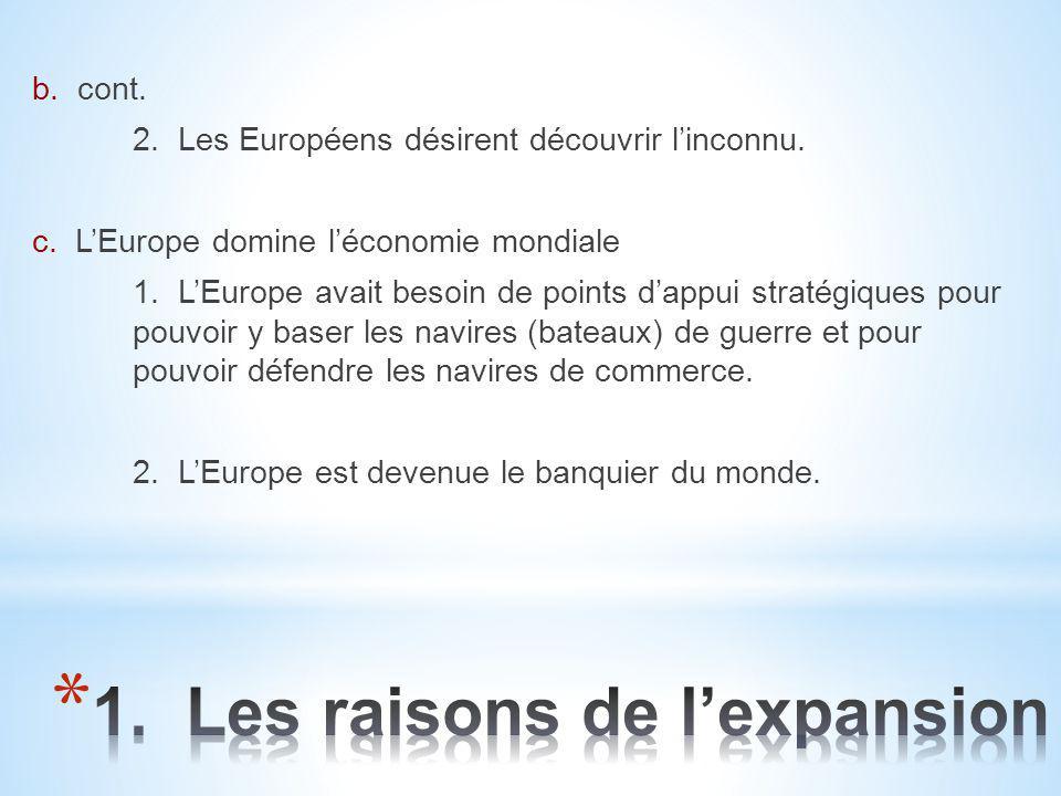 b. cont. 2. Les Européens désirent découvrir l'inconnu. c. L'Europe domine l'économie mondiale 1. L'Europe avait besoin de points d'appui stratégiques