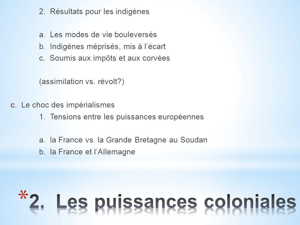 2. Résultats pour les indigènes a. Les modes de vie bouleversés b. Indigènes méprisés, mis à l'écart c. Soumis aux impôts et aux corvées (assimilation
