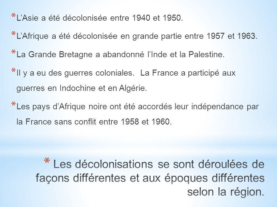* L'Asie a été décolonisée entre 1940 et 1950. * L'Afrique a été décolonisée en grande partie entre 1957 et 1963. * La Grande Bretagne a abandonné l'I