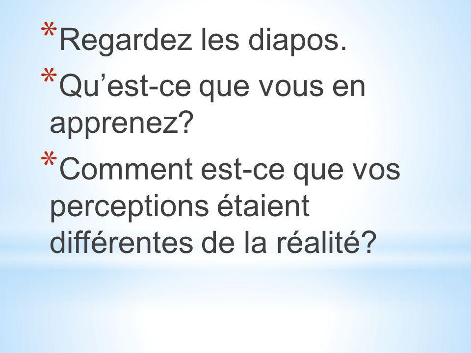 * Regardez les diapos. * Qu'est-ce que vous en apprenez? * Comment est-ce que vos perceptions étaient différentes de la réalité?