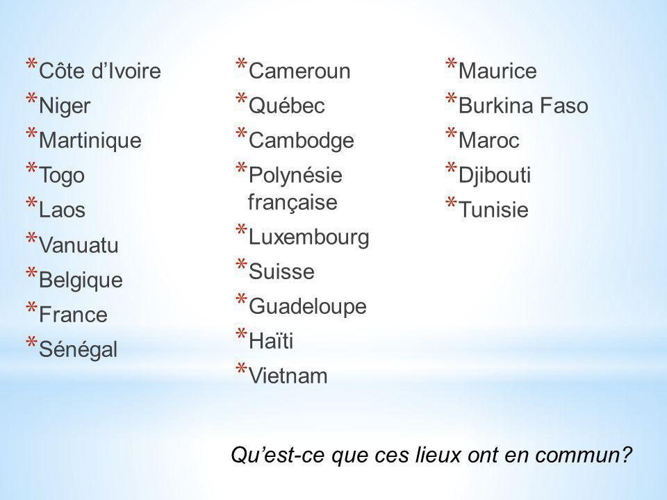 * Côte d'Ivoire * Niger * Martinique * Togo * Laos * Vanuatu * Belgique * France * Sénégal * Cameroun * Québec * Cambodge * Polynésie française * Luxe
