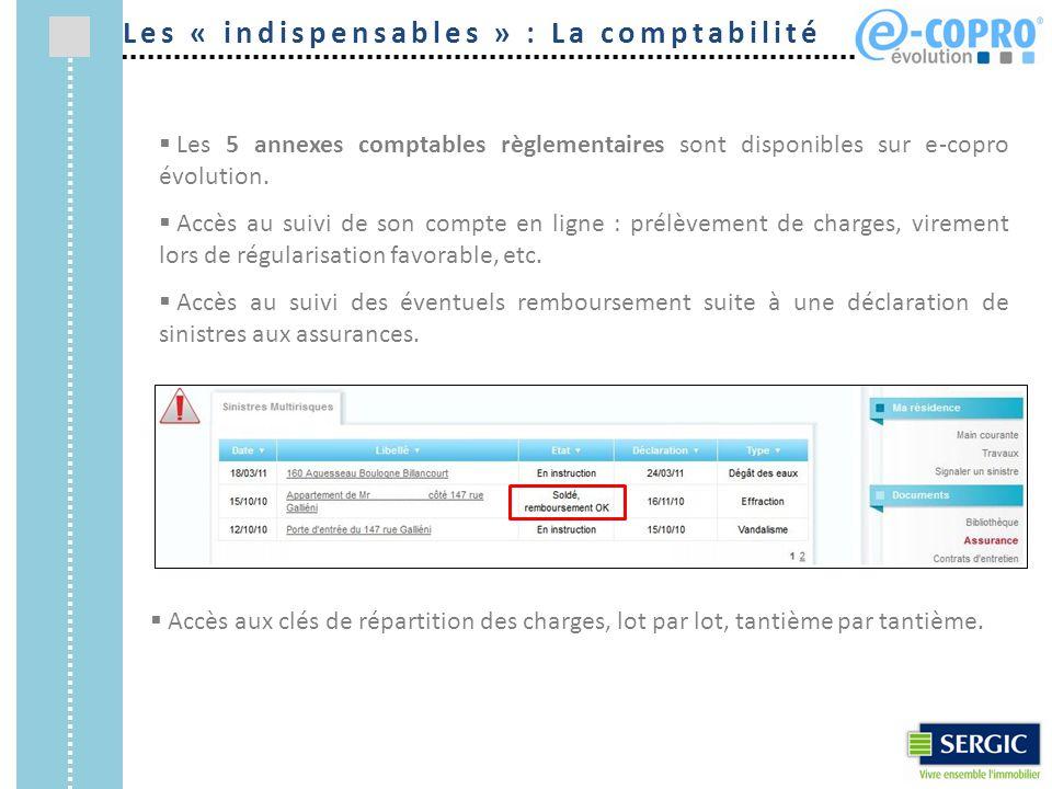 Les « indispensables » : La comptabilité  Les 5 annexes comptables règlementaires sont disponibles sur e-copro évolution.  Accès au suivi de son com