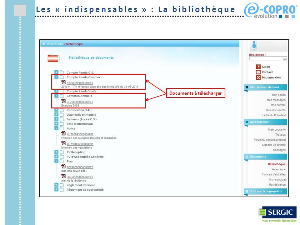 Documents à télécharger Les « indispensables » : La bibliothèque