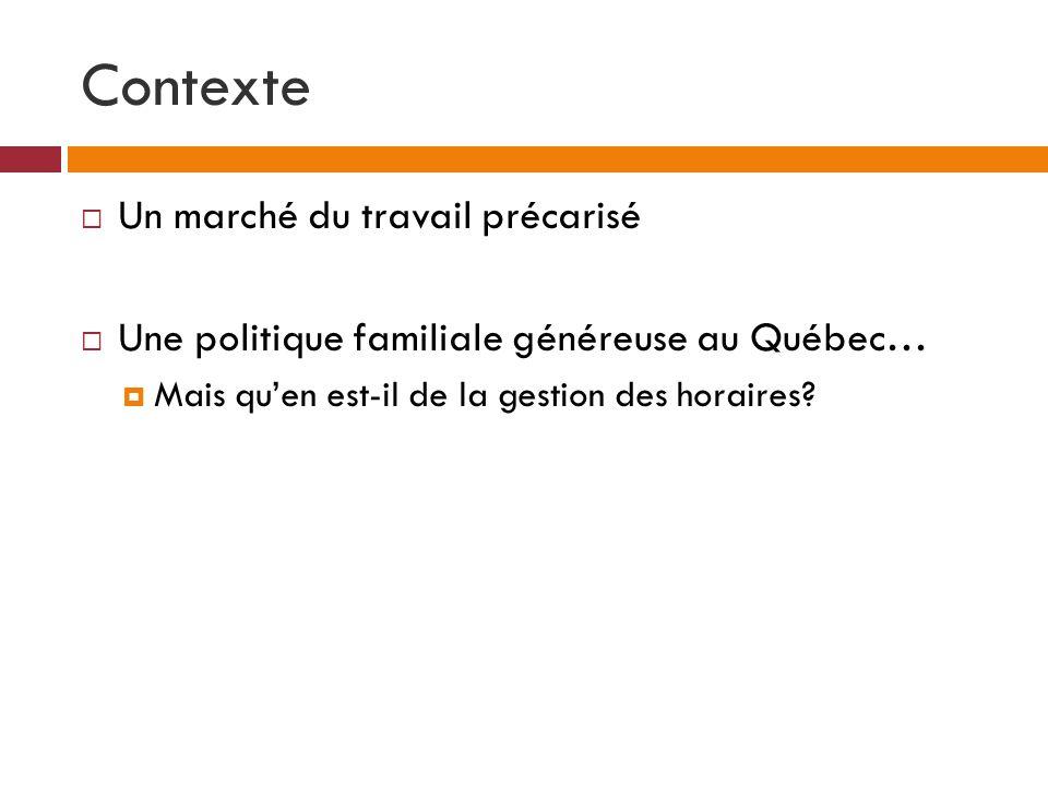 Contexte  Un marché du travail précarisé  Une politique familiale généreuse au Québec…  Mais qu'en est-il de la gestion des horaires