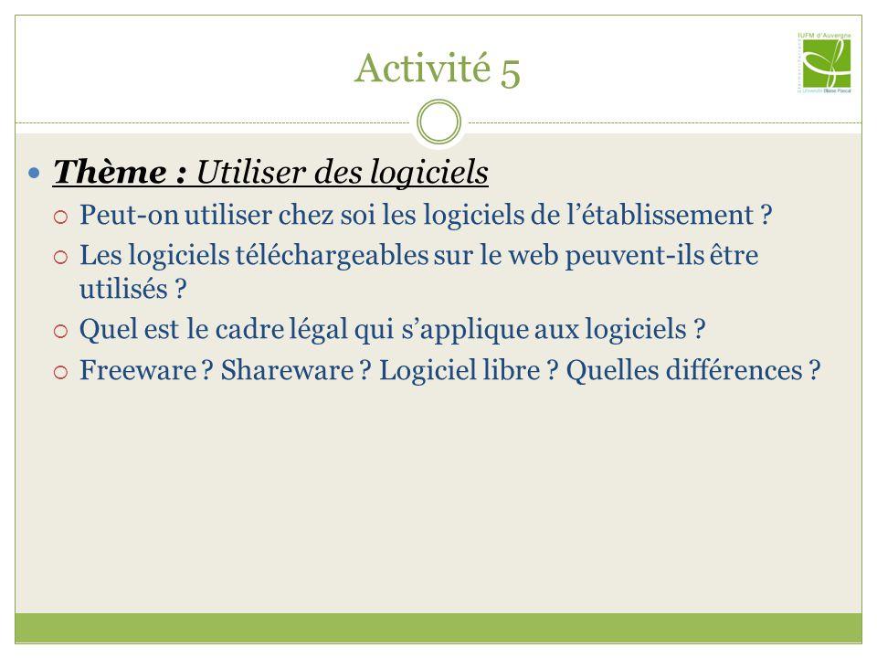 Activité 5 Thème : Utiliser des logiciels  Peut-on utiliser chez soi les logiciels de l'établissement .