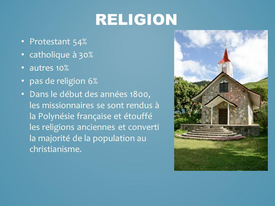 Protestant 54% catholique à 30% autres 10% pas de religion 6% Dans le début des années 1800, les missionnaires se sont rendus à la Polynésie française