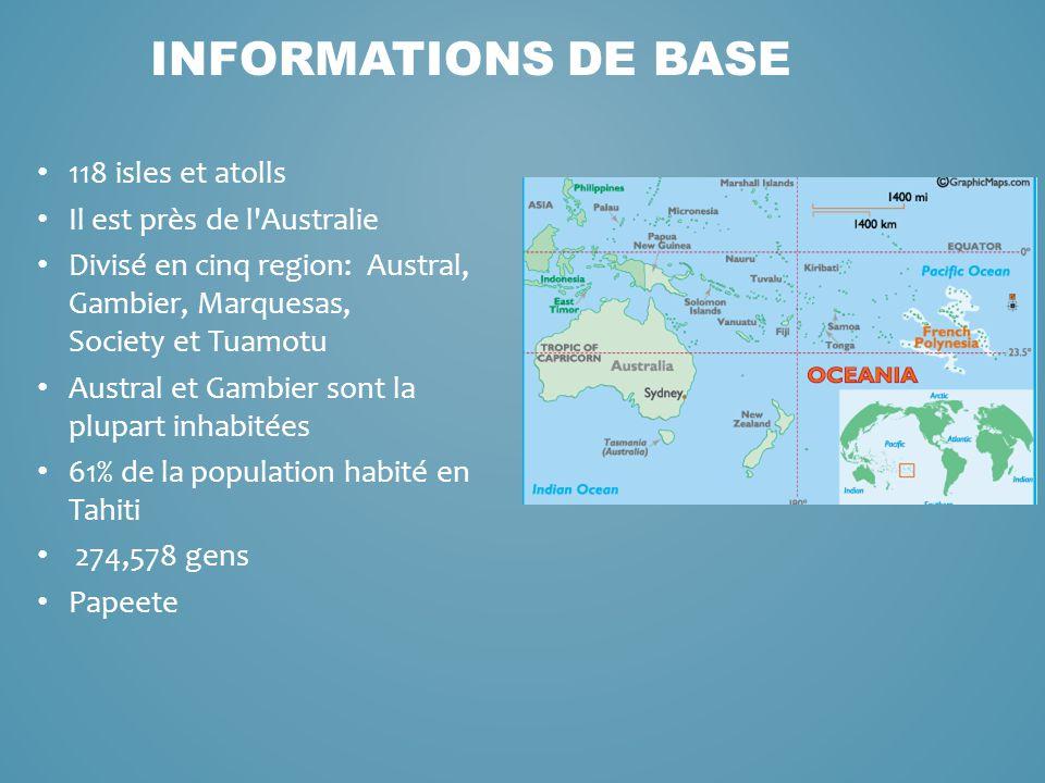118 isles et atolls Il est près de l'Australie Divisé en cinq region: Austral, Gambier, Marquesas, Society et Tuamotu Austral et Gambier sont la plupa