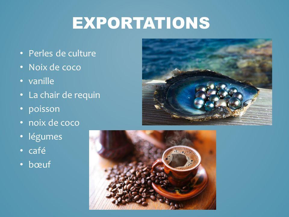 Perles de culture Noix de coco vanille La chair de requin poisson noix de coco légumes café bœuf EXPORTATIONS