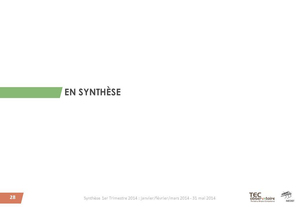 28 EN SYNTHÈSE Synthèse 1er Trimestre 2014 : janvier/février/mars 2014 - 31 mai 2014