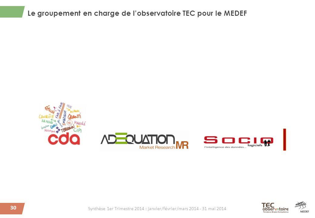 Le groupement en charge de l'observatoire TEC pour le MEDEF 30 Synthèse 1er Trimestre 2014 : janvier/février/mars 2014 - 31 mai 2014