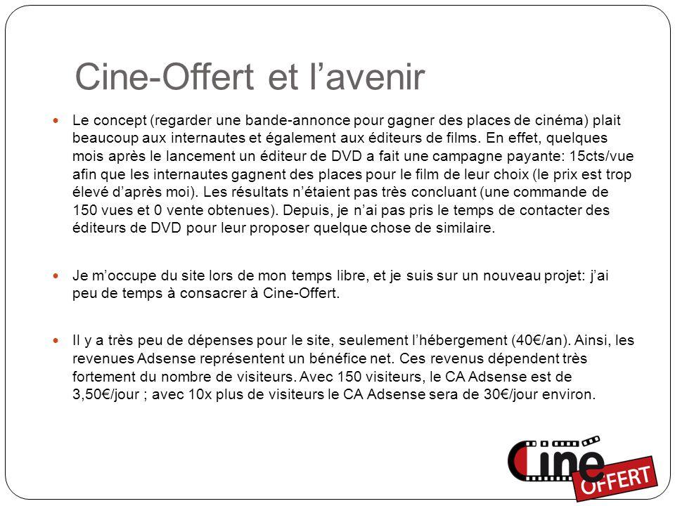 Cine-Offert et l'avenir Le concept (regarder une bande-annonce pour gagner des places de cinéma) plait beaucoup aux internautes et également aux éditeurs de films.