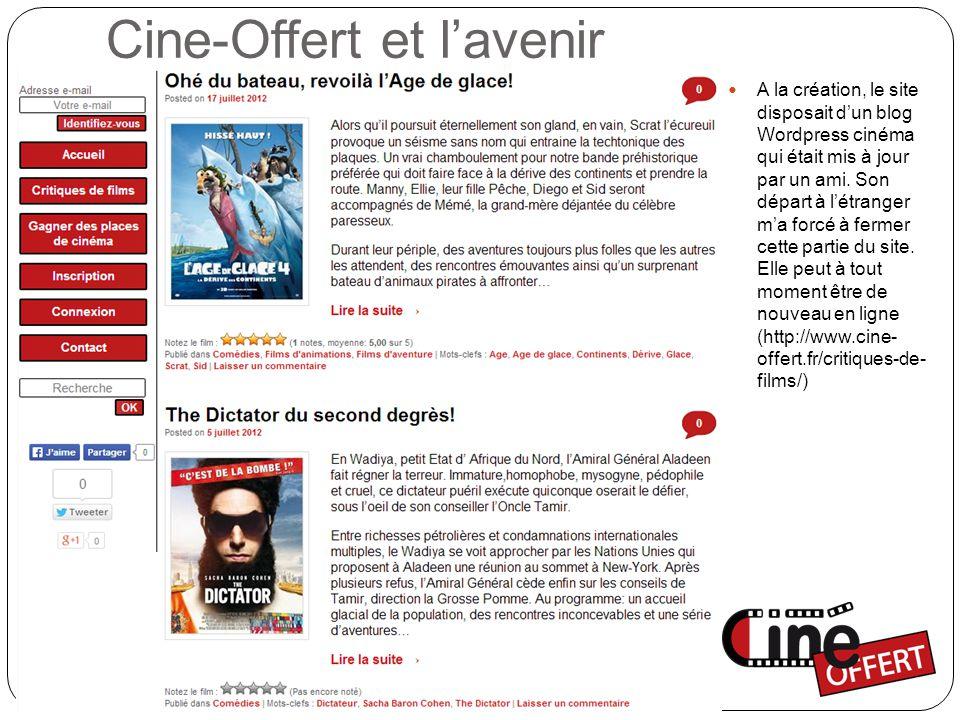 Cine-Offert et l'avenir A la création, le site disposait d'un blog Wordpress cinéma qui était mis à jour par un ami.